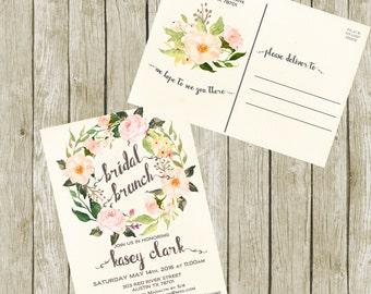 Bridal Shower Brunch Postcard Invitation Printable, Floral Bridal Shower Postcard Invitations. Bridal Shower Postcard Invitation.