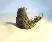 Bird with heart Bird of polymer clay with a pattern embossed bird figurine plasterwork Fantasy bird Fantasy animal