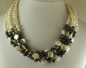 Freshwater White & Purple Pearl Five Strand Necklace with Sterling Silver Clasp