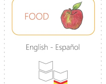 PRINTABLE Vocabulary Cards - Food (Bilingual: English to Spanish)