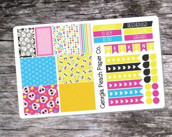 Sugar Skull Themed Planner Stickers - Made to fit Vertical Layout