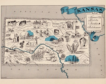 30's Whimsical KANSAS Map of Kansas State Map Print Travel Map Gallery Wall Art Library Office Decor  Birthday Gift