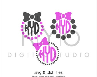 Bow SVG cutting file, Bow Monogram SVG, Bow and Pearls svg files, Pearls SVG files, svg files for Cricut and Silhouette, Cameo files