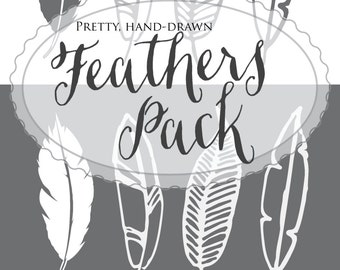 Feathers | shabby boho chic | rustic | whimsical | hand-drawn digital clip art overlay | hand-drawn sketch | great for DIY invitations