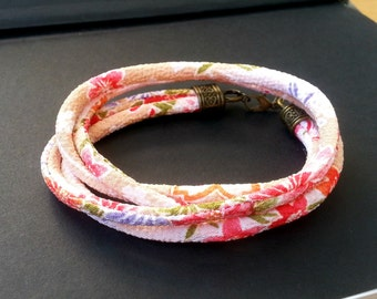 Wrap Bracelet Japanese Kimono Chirimen Cord Peach Soft Fabric Bohemian Jewellery Wrapped Bracelet Boho Gift for her