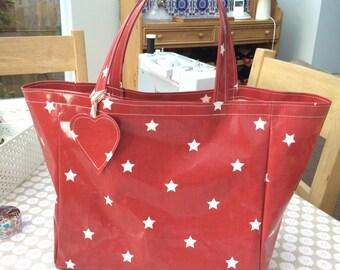 Red Twinkle bag - Oilcloth bag - Shopping Bag - Market  Bag - Shoulder Bag - Tote - Oilcloth Tote - Beach Bag - Shopping Tote - Bag