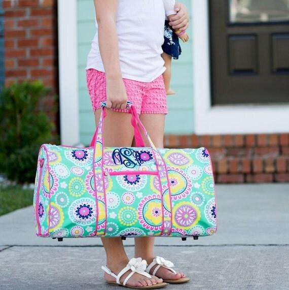 Monogram Duffle ~ Monogram Duffel ~ Spring Duffel Bag ~ Mod Duffle Bag ~ Mint and Pink Duffel ~ Girls Duffle Bag ~ Going to Grandma's Duffle