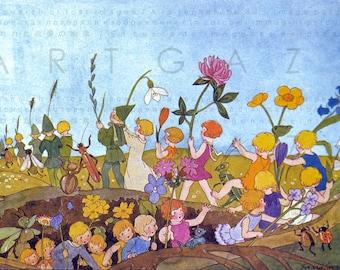 Children Of The Earth. Earth Fairies. Art Deco Fairy Tale Illustration. Digital Fairy Download. Vintage Nursery Art.