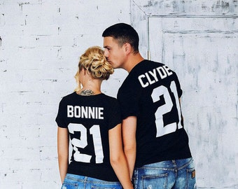 "Any number! Couple T-shirts ""Bonnie"" & ""Clyde"" couple T-shirts Bonnie Clyde Tshirt Custom Shirts with Custom Numbers"