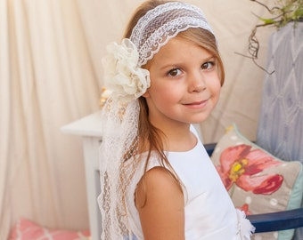 First Communion Veil Headband w Handmade Flower | First Communion Hairpiece | Communion Veil