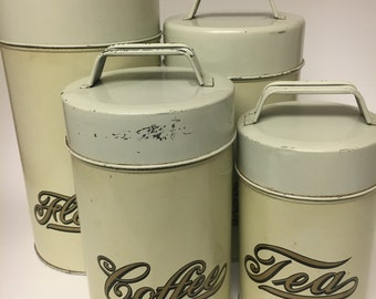 Vintage Kitchen Canisters Set, 1970's Metal, Tin Canister Set, Coffee, Flour, Sugar, Tea