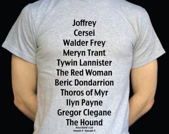 Game of Thrones Arya Stark's List T Shirt Stark Jon Snow Targaryen Lannister
