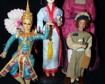 Vintage Costume Doll Grouping - 244
