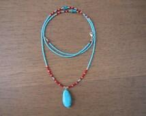 Boho Blue Turquoise Pendant Beaded Necklace, Goddess Necklace, Glass Seed Bead Necklace, Yoga Bead Necklace, Mala Beads, Healing Gemstone