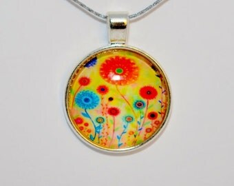 Flower Pendant, Flower Necklace, Glass cabochon, Flower Jewelry.