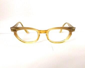 Bausch & Lomb Cat Eye Eyeglasses// Vintage 1950's 1960's //Women's Pale Yellow// #M79