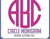 Circle MONOGRAM font,alphabet, svg font, Files For Use With Your cut software, Pdf, Dfx, Png, Eps, Svg Monogram, Instant Download 052