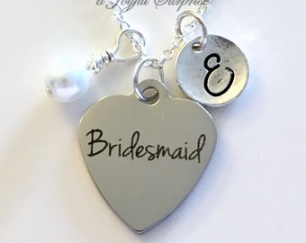 Bridesmaid Necklace Personalized, Silver Bridal Party Jewelry, Gift for Wedding Party Gifts, with Initial Wedding Color Pearl Dangle Charm