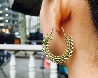 Ethnic hoop earrings Tribal Brass Indian earrings