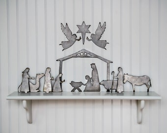 """Nativity- 12 piece set- raw steel (STABLE measures -12""""w x 9""""h, see more below) (nativity, metal art, silhouette, wall decor, Christmas)"""