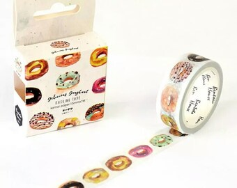 Donut Washi Tape - Icing and Sprinkles, Delicous Bakery Doughnuts, Decorative Sticker Deco Tape Adhesive