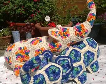 Crochet African Flower Elephant Toy/Pillow
