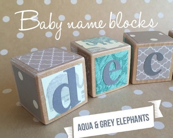 Wood Baby Name Elephant BLOCKS set >> Letter blocks, Baby gift, Newborn Photo Prop >> Aqua and grey elephants >> Baby Boy