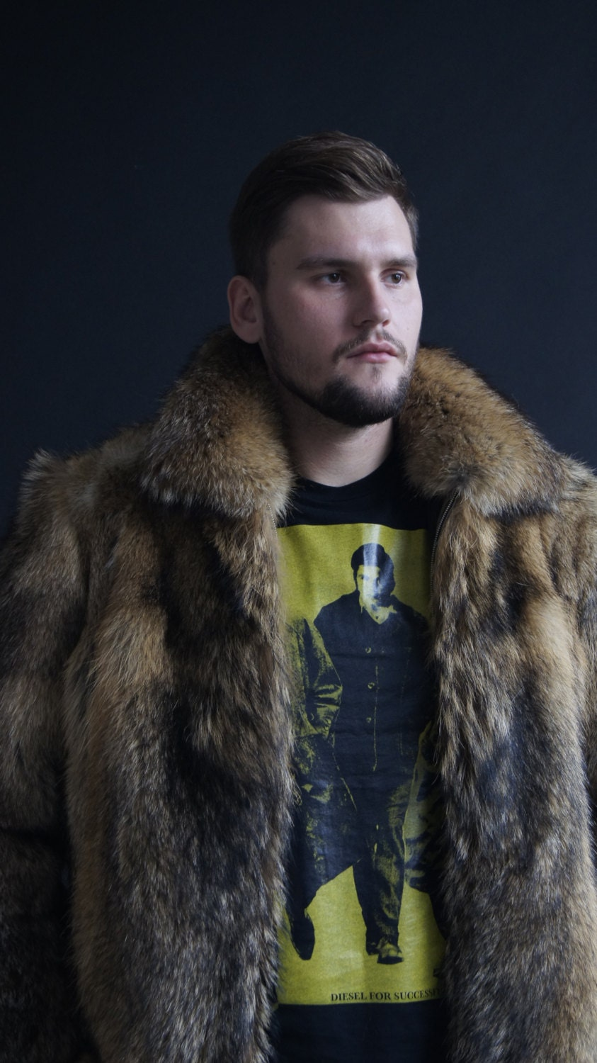 Mens jacket lined with fur - Brand New Natural Coyote Fur Jacket Coat Mens Jacket Jacket Coyote Men S Fur Coat