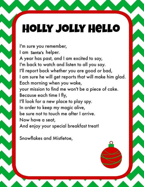 Vibrant image regarding elf on the shelf printable letter