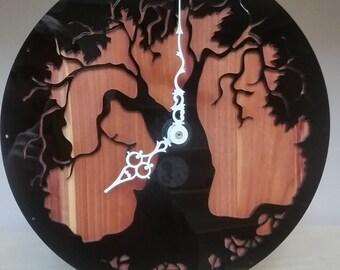 Black Acrylic Tree Cedar Clock