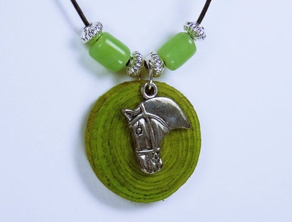 Necklace Horse-horses of green olive wood with silver horse head on black leather strap with green pearls Equestrian Jewelry