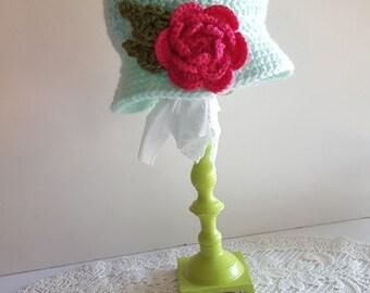 1920's Bonnet Rose Crochet Hat - Newborn, Baby, Child's, Photography Prop, Girl, Rose, Garden, Bonnet, Ruffle, Pink, Fuchsia, Teal
