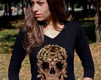 Skull Shirt Sugar Skull Shirt Skull Clothing Skeleton Shirts Floral Skull Tee Shirt V Neck Women 3/4 Sleeve Shirt