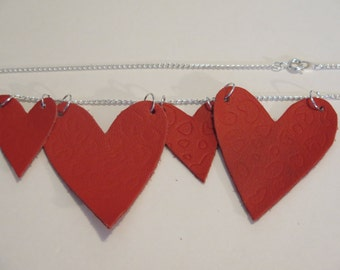 Red Embossed Leather 4 Heart Necklace