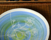 Ceramic Bowl, Sgraffito, Underglaze, Low-fire, Handpainted and Carved, Earthenware, Wonky Shape, Baby Blue, Chartreuse, Chistmas Gift