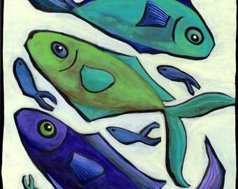 "Original 10""x8"" painting on a cradled wood panel ""Aquamarine"""