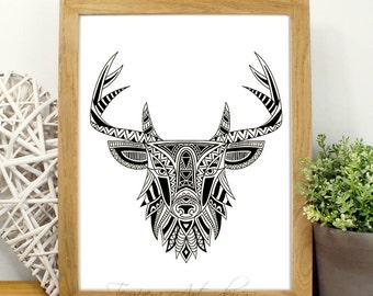 Black and White Prints - Black and White Art - Deer Black and White Wall Art - Modern Abstract Art- Deer Black White Home Decor- Tribal Deer