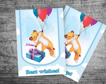 greeting card Happy Birthday Pup with a gift Flying on the balloons Greatings To my Sister