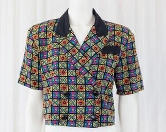 eccentric cool vintage 90's suit style top GREAT COLORS