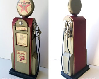Antique looking red & green Texaco Fire Chief gas pump tin metal decor for man cave, die cast car collection or petroliana gasoline and oil