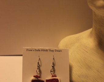 Red Velvet Cake Slice Earrings