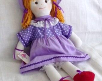 rag doll. fabric rag doll. 61cm - 24 inch handmade dolls. fabric dolls. cloth doll