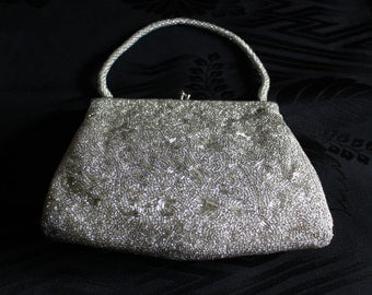 Vintage Beaded Silver Handbag, Japanese Sequined Purse, Wedding Purse, Vintage Evening Bag, Excellent Condition, Free Shipping
