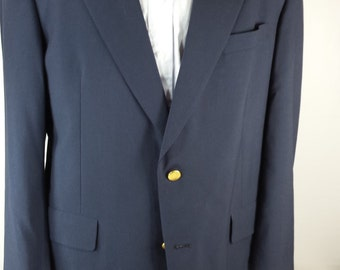 Vintage Hart Schaffner Marx Men's Fine Wool Blue Blazer Sports Coat USA EUC! Size M*