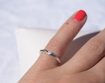 Gemstone ring, silver and cubic-zirconia ring,fine silver ring, fine silver gemstone ring, delicate silver ring, pinky finger ring