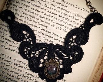 Vintage // Victorian necklace // black gothic necklace // black lace necklace // bib necklace