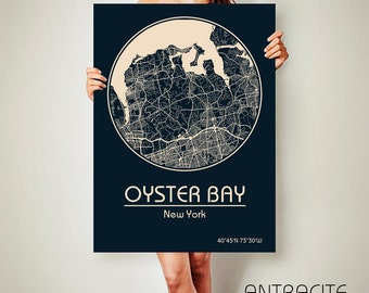 OYSTER BAY New York CANVAS Map Oyster Bay New York Poster City Map Oyster Bay New York Art Print Oyster Bay New York poster Oyster Bay