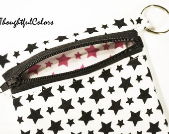 Coin Pouch, keychain, zippered pouch, coin purse, minizippered pouch, star, backpack, kids