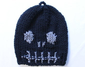 Black Skull Knitted Hat