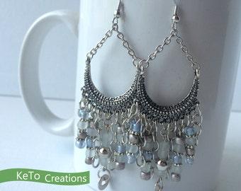 Earrings, Chandelier Style Earrings, Antique Looking Earrings, Blue White And Gray Bead Earrings, Southwestern Earrings